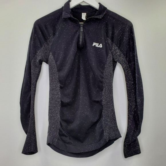 Fila Black Glitter Running Jacket Quarter Zip